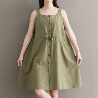 Set: Plain Elbow Sleeve T-Shirt + Pinafore Midi Dress 1065745928