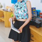 Set: Cat Print Tankini + Cover-Up Skirt 1596