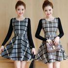 Plaid Long Sleeve A-Line Mini Dress 1596