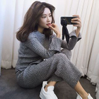 Set: Ribbed Side Slit Sweater + Cropped Knit Pants 1596