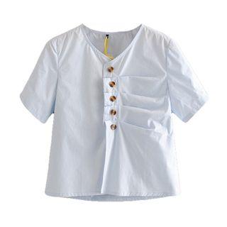 Image of Asymmetric Short-Sleeve Blouse