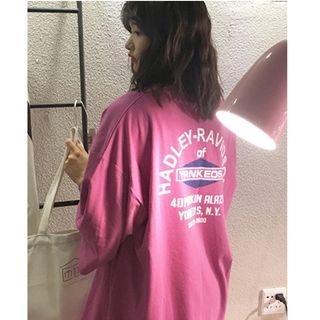 Printed Elbow-Sleeve T-Shirt 1063920821
