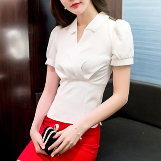 V-Neck Short-Sleeve Blouse 1050706535
