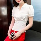 V-Neck Short-Sleeve Blouse 1596