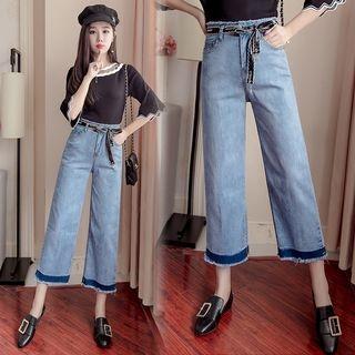 Color Block Wide Leg Jeans 1061964269