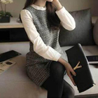 Chiffon-Sleeve Tweed Dress 1596