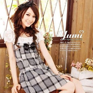 Buy YUMI Bow Front Lace Plaid Dress 1022849554