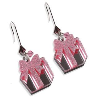 Glitter Pink Present Dangle Silver Earrings