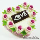 XL Handmade Purple Rose Love Heart Cake Pin 1596