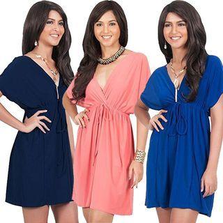V-neck Short-Sleeve Dress 1056991499