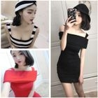 Off-Shoulder Knitted Bodycon Dress 1596