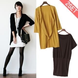 Buy Stylementor Set: Shawl-Collar Cardigan + Short Dolman-Sleeve Dress 1014548737