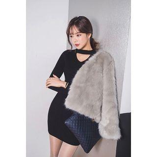 Cutout-Front Ribbed Knit Minidress 1055888277