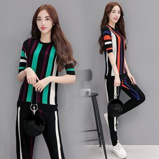 Set: Striped Knit Top + Striped Pants 1054250516