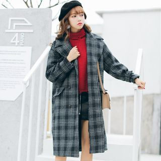 Double-Breasted Plaid Coat - United states