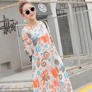Printed Long Sleeve Midi Dress 1053055755