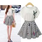 Set: Printed Top + Dotted Skirt 1596