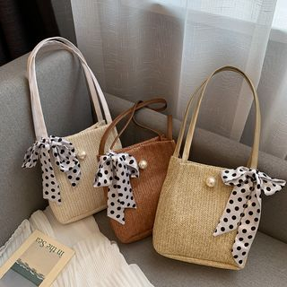 Image of Bow Accent Straw Tote Bag