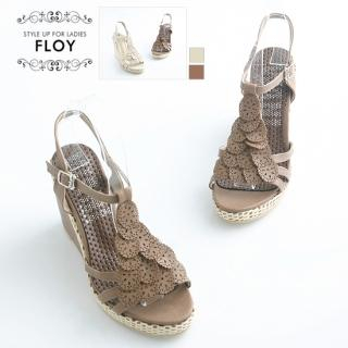 Buy FLOY SHOES Punched T-Strap Wedge Sandals 1023053593