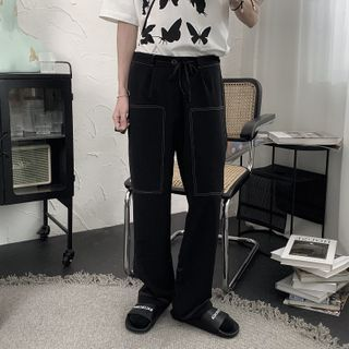 Image of Contrast Stitching Straight-Fit Pants