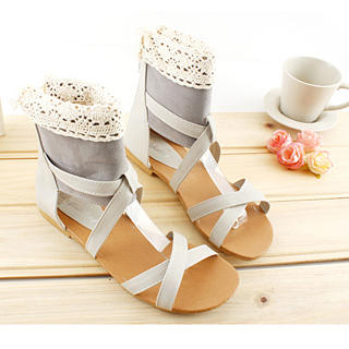 Buy KAWO Lace-Trim Cross-Strap Sandals 1022760163
