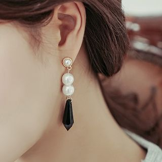 Faux Pearl Crystal Drop Earrings