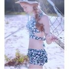 Set: Floral Print Cutout Tankini Top + Swim Skirt 1596