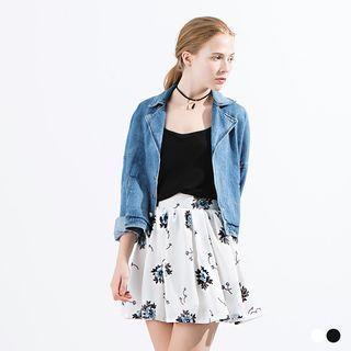 Printed A-Line Chiffon Skirt White - L
