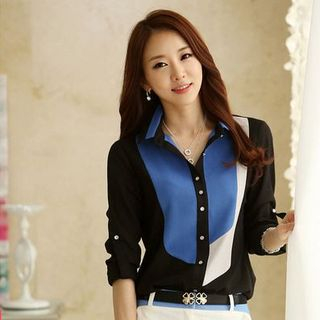 Image of Stand-Collar Long-Sleeved Color-Block Chiffon Slim Open-Front Blouse