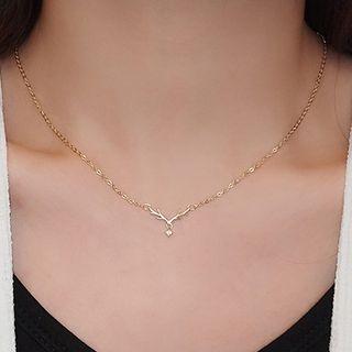 Rhinestone | Necklace | Pendant | Gold | Size | One
