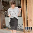 Slit-Back Pencil Skirt 1596