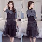 Maternity Set: Short-Sleeve A-Line Dress + Mesh Strappy Dress 1596