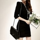 Elbow-Sleeve Shirred Sheath Dress 1596