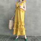 Sleeveless Frilled-Trim Long Shift Dress 1596