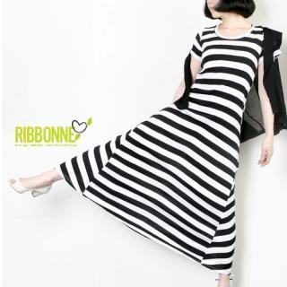 Buy Ribbonne Striped Short-Sleeve A-Line Long Dress 1022834380