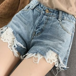 Lace Trim Denim Shorts 1060005169