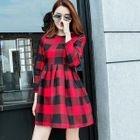 Plaid Long Sleeve Mini Woolen Dress 1596