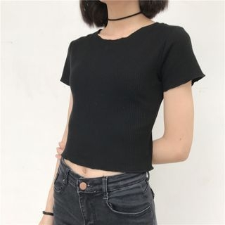 Ribbed Short-Sleeve T-Shirt 1059687152