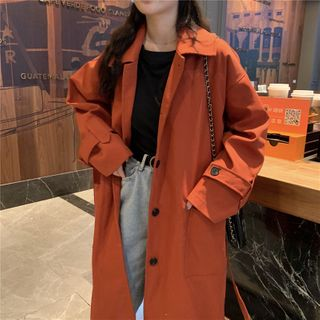 Image of Button Back Medium Long Trench Coat