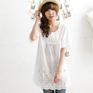 Picture of MYHEART Embroidered-Bib Eyelet-Lace Tunic 1023058724 (MYHEART Dresses, Womens Dresses, Taiwan Dresses, Tunics)