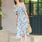 Short-Sleeve Cold Shoulder Printed A-Line Dress 1596