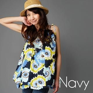 Buy Click Japan Convertible Floral Sundress Navy Blue – One Size 1022708595
