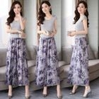 Set: Cap-Sleeve Top + Print Wide-Leg Pants 1596