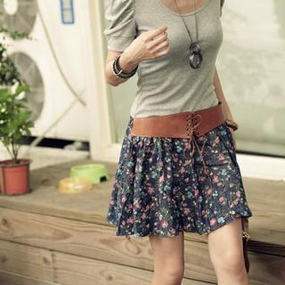 Buy PUFFY Floral Print Skirt with Belt Dark Blue – One Size 1022945765