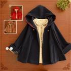 Cuff Sleeve Hooded Cape Jacket 1596