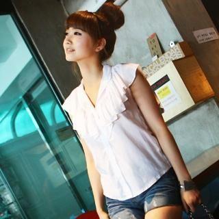 Buy SDKING Mandarin-Collar Ruffled Blouse 1023003510