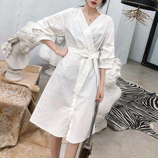 Long-Sleeve Tie-Waist Dress 1065607954