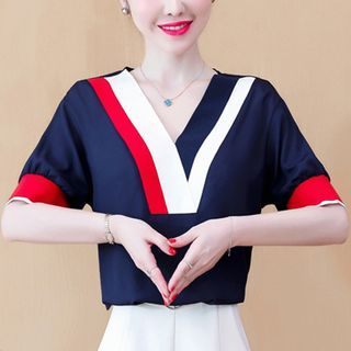 Image of Balloon-Sleeve Paneled Chiffon Blouse