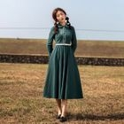 Long-Sleeve Embroidered Collared Dress 1596