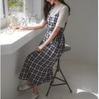 Tie-Waist Plaid Pinafore Dress 1596